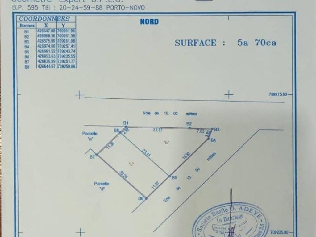 REF16498, Terrain a vendre  Zogbadjè